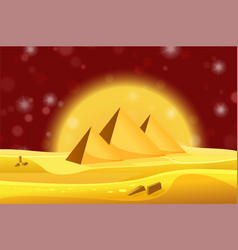 cartoon egyptian pyramids in the desert with red vector image vector image
