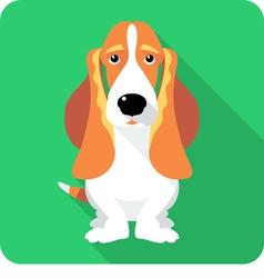 dog Basset Hound sitting icon flat design vector image vector image