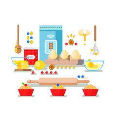 preparation of baking ingredients vector image