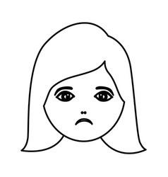 silhouette cartoon human female sad face vector image