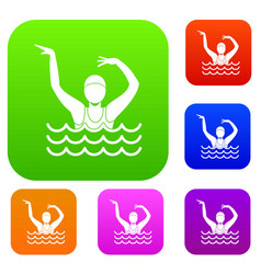 swimmer in a swimming pool set collection vector image vector image