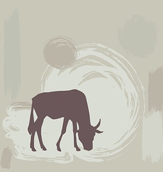 Wildebeest silhouette on grunge background vector image