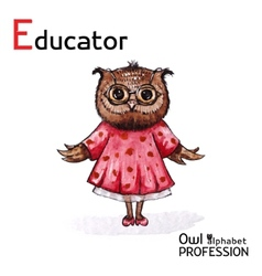 Alphabet professions Owl Educator character on a vector image vector image