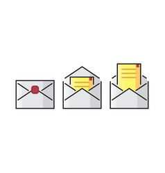 color line envelope mail icon colorful flat vector image