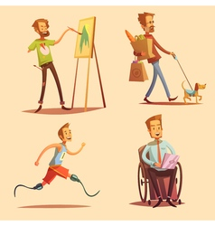 Disabled People Retro Cartoon 2x2 Icons Set vector image vector image