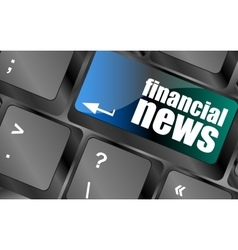 financial news button on computer keyboard vector image vector image