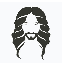 icon portrait of a man with a beard and a vector image vector image
