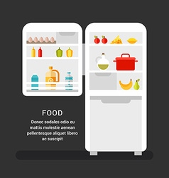 Open Refrigerator with Food Flat Style Food vector image