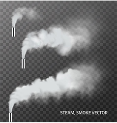Realistic transparent steam smoke pipe set vector image vector image