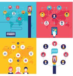 social network technology banner set vector image