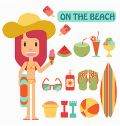 summer vacation play on the beaches vector image vector image