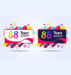 88 years pop anniversary modern design elements vector