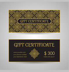 Arabic style gift certificate template vector