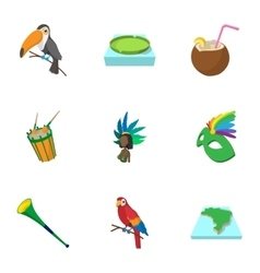 Attractions of Brazil icons set cartoon style vector image