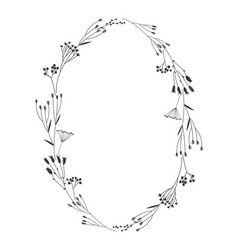 autumn botanical oval frame wreath on white vector image