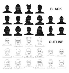 Avatar and face black icons in set collection for vector