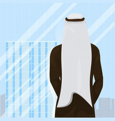 Back rear view of arab man in traditional clothes vector