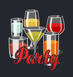 background with alcohol drinks and cocktails in vector image