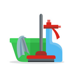 Banner with basin duster broom glass cleaner vector
