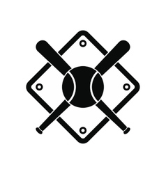 Baseball bats and ball on baseball field vector