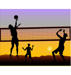 Beach volleyball players at sunset - silhouette vector