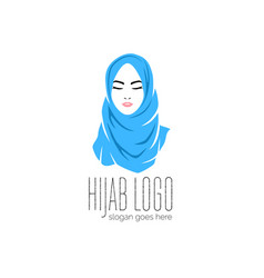 beautiful woman wearing blue hijab icon hijab vector image
