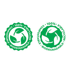 biodegradable and compostable recyclable icon 100 vector image