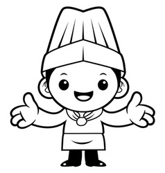 Black and white head cook mascot welcome isolated vector