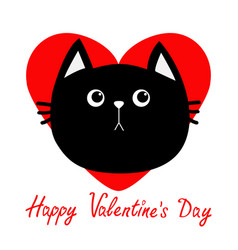 Black cat head icon red heart cute funny cartoon vector