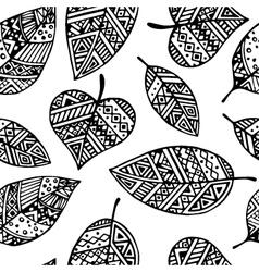 Black line graphic leaf seamless pattern pr vector