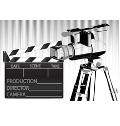 black movie clapperboard and camera vector image