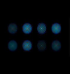 Blue centric circles icons set biometric security vector