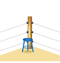 boxing corner with blue wooden stool vector image