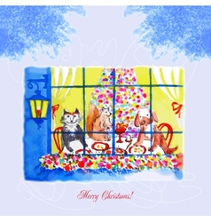 Card with Christmas Eve a dog and a cat vector image