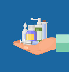 cartoon hand keeping pile of medicines vector image