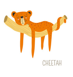 Cheetah africa originating animal sleeping on vector