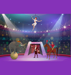 Circus tamer and equilibrist show vector