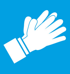 clapping applauding hands icon white vector image