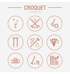 Croquet sport game line icons Ball vector