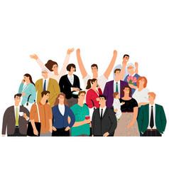 crowd happy people vector image