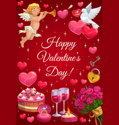 Cupid angel with trumpet heart and sweets vector