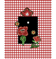 design pocket with flowers embroidered sequins vector image
