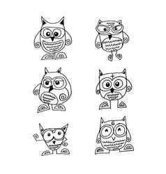 doodle cute owl icon design vector image