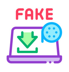 Downloading fake video icon outline vector
