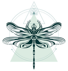 Dragonfly geometric art composition vector