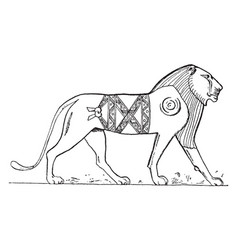 Egyptian lion is a relief with sunken outlines vector