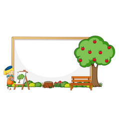 Empty banner with an artist girl painting apple vector