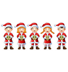 Five happy children singing christmas carols vector