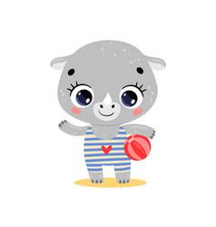 Flat cute cartoon summer tropical rhino vector