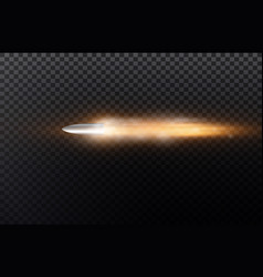 Flying bullet with dust trail isolated on black vector
